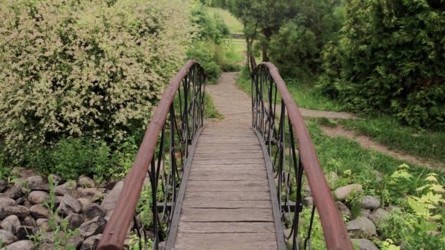 small decorative bridge in the garden