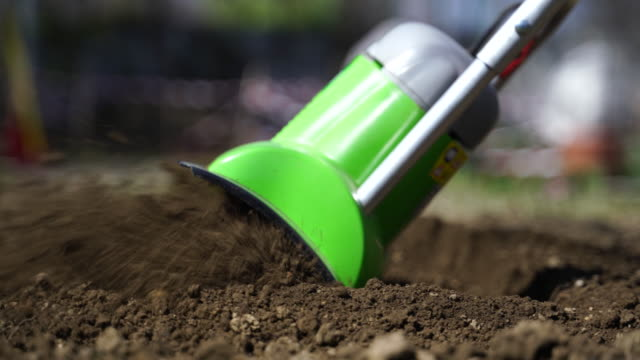 Small Electric Garden Tiller closeup video