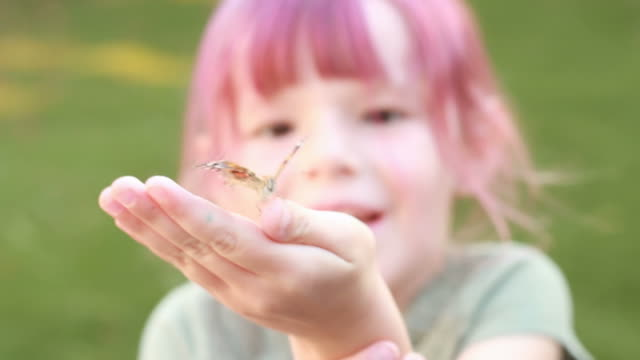 Small female child releases butterfly video