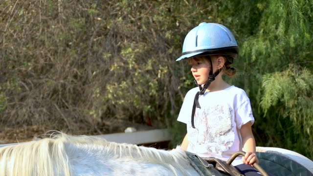 Small girl with helmet sitting on white horse video