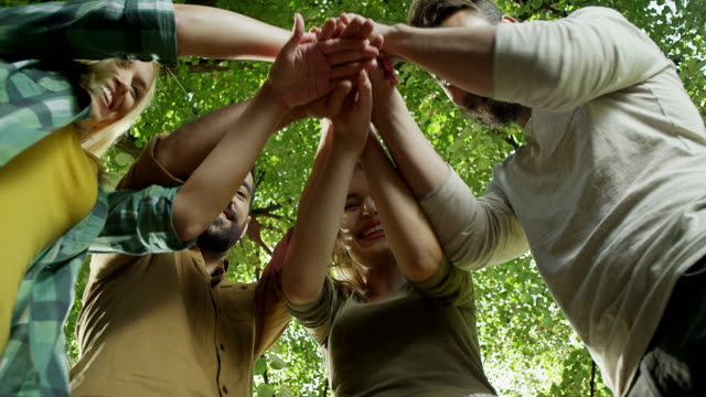 Small group of happy friends joining hands in unity video