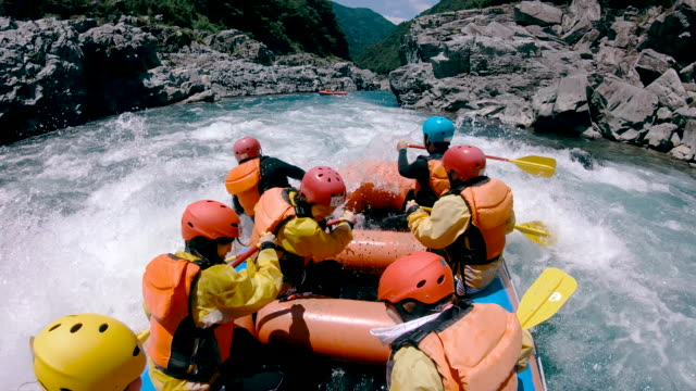 Small group of men and women white water river rafting Small group of men and women white water river rafting in a forested valley in Japan. conquering adversity stock videos & royalty-free footage