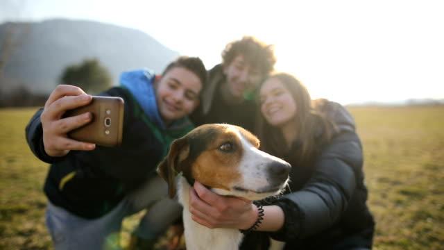 stockvideo's en b-roll-footage met kleine groep tieners maken selfie met zwerfhond in het veld. broers en zuster in de rug licht - teenager animal