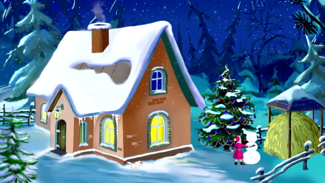 Small House in a Beautiful New Year's Eve video