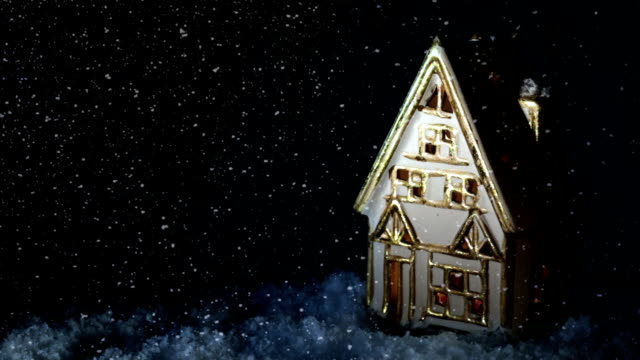 Small house. Snow. Fireplace. video