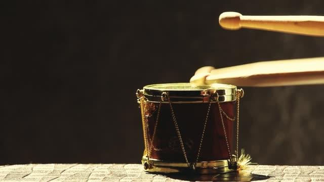 small music drum wooden sticks hd footage