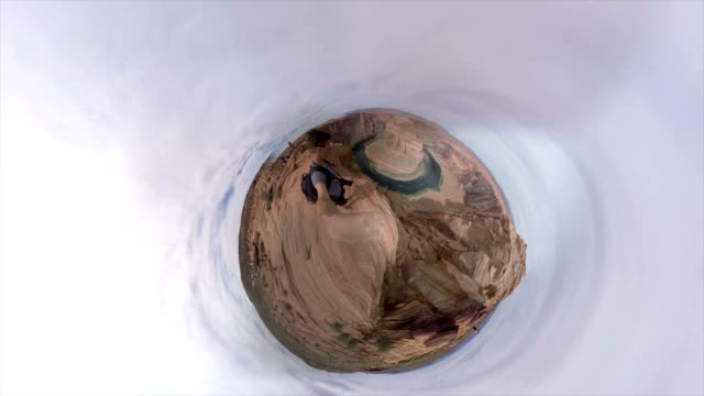 Small Planet Effect of one tourist at the Horseshoe Bend video