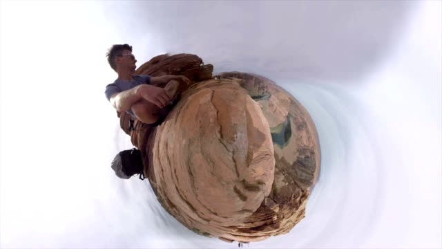 small planet effect of the horseshoe bend in arizona - fish eye video stock e b–roll