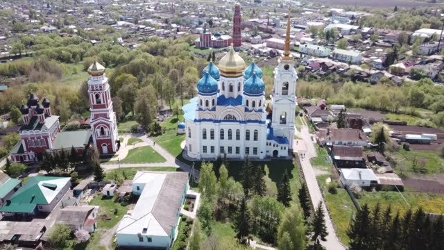 Video small Russian town of Bolkhov with church of Great Martyr