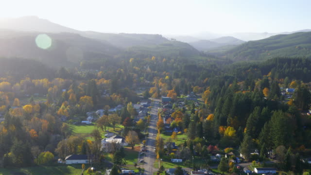 Small Town in Valley Aerial View 01 An aerial view of a small town in the  Willamette Valley in Oregon. americana stock videos & royalty-free footage