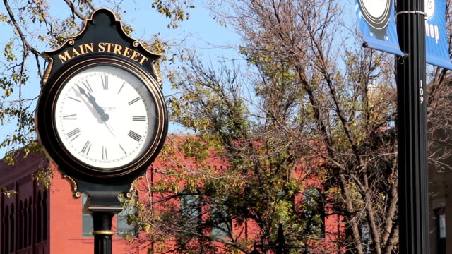 Small Town Main Street Clock A pan of a small town main street clock. americana stock videos & royalty-free footage