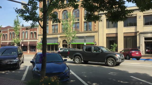 Small Town USA Main Street Establishing Shot