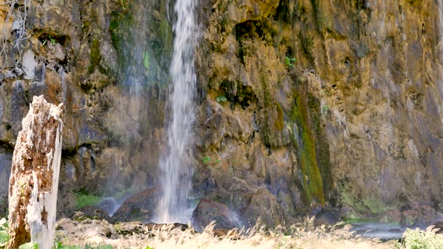 Small waterfall among the rocks on the Plitvice Lakes in the National Park. video