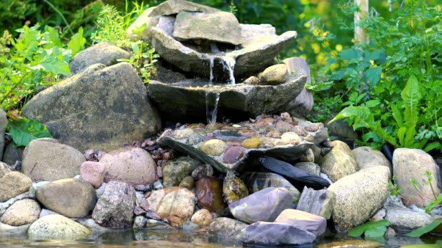 Small waterfall at home garden. Garden pond with waterfall. Exterior of a private garden. Pool with rocks and waterfall Small waterfall at home garden. Garden pond with waterfall. Exterior of a private garden. Pool with rocks and waterfall pond stock videos & royalty-free footage
