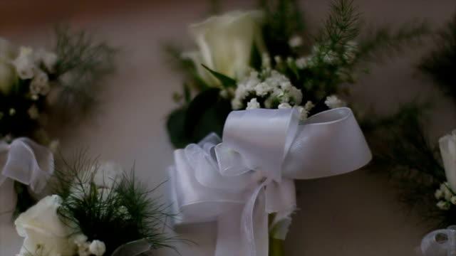 small white wedding flowers - trillium video stock e b–roll