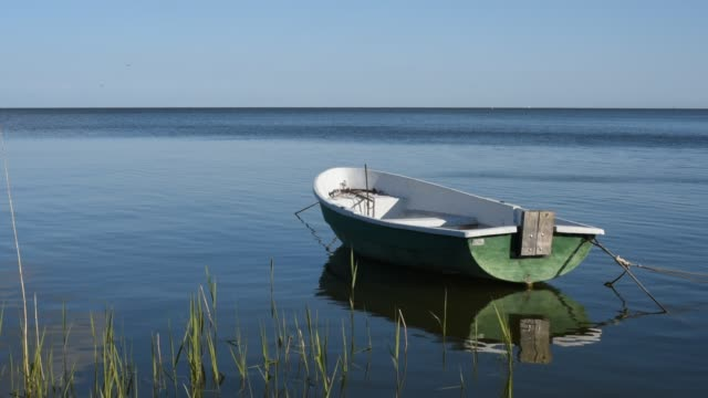 Small wooden boat floating on the clear water Small wooden boat floating on the clear water of a natural lake, HD video baltic countries stock videos & royalty-free footage