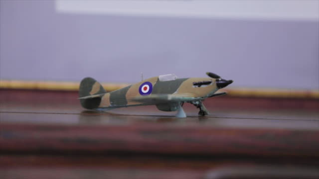 small WW2 model airplane close up