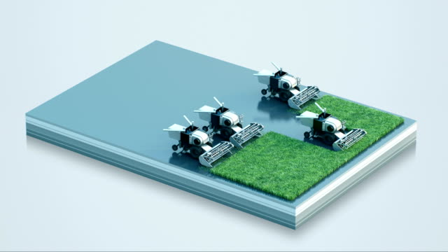 スマート スマート ファーム農業トラクターで耕そう、モ ノのインターネットを接続します。第 4 の産業革命。4 k 映画。 - センサー点の映像素材/bロール