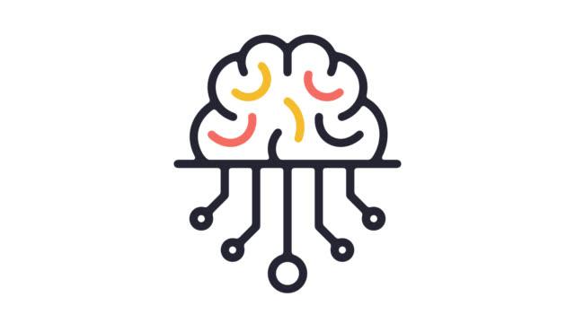 Animation en icône ligne Smart Intelligence artificielle avec Alpha - Vidéo