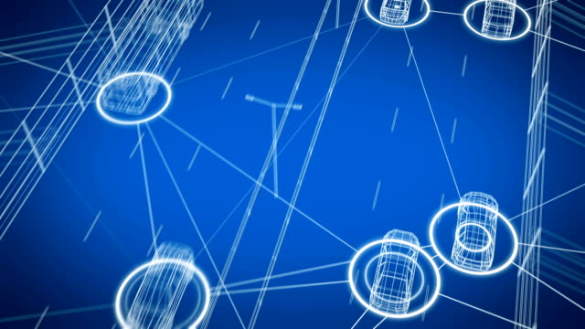 スマートカーシステムデータは、道路上のすべての輸送とシームレスに交換します。デジタルネットワークの高速道路上のすべての車を接続する制御システムのループ3dアニメーション。 - センサー点の映像素材/bロール