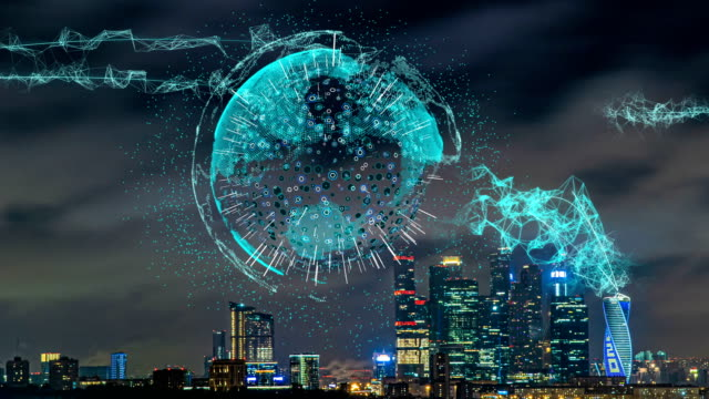Smart city and communication network concept. Evening city time lapse with futuristic elements of telecommunications. The concept of high technology in the field of telecommunications