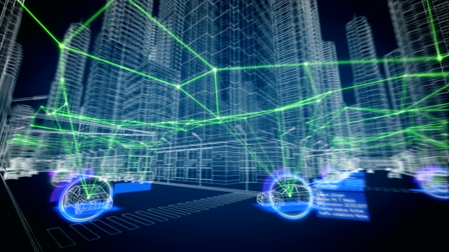 Smart City Konzept. Working Tracking System auf Stadtstraßen nahtlos. Abstrakte Gebäude und Autos stilisiert in Hi-Tech Grid Design. Looped 3d Animation Futuristischetechnologie Konzept – Video