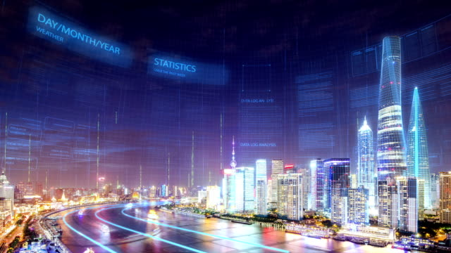 smart city in modern city shanghai - smart city stock-videos und b-roll-filmmaterial