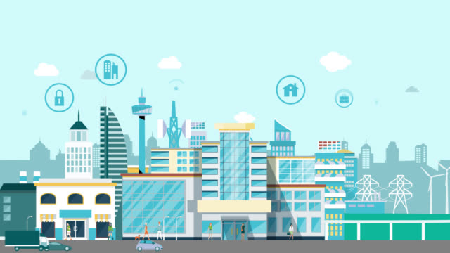 vídeos y material grabado en eventos de stock de animación de escena de diseño infográfico de movimiento de ciudad inteligente. animación ciudad inteligente con tecnología de iconos. aleja la ciudad. - villa asentamiento humano