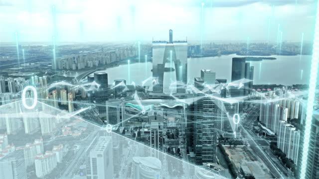 抽象的な線を持つスマートシティ - ネットワーク点の映像素材/bロール
