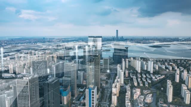 smart city mit abstrakter linie - smart city stock-videos und b-roll-filmmaterial