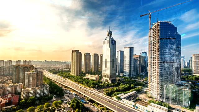 杭州の時間の経過とスマートシティ - モノのインターネット点の映像素材/bロール