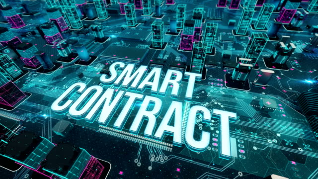 stockvideo's en b-roll-footage met smart contract met digitale technologie concept - blockchain
