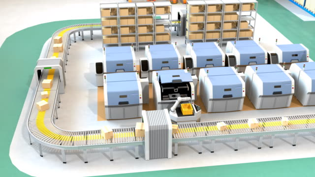 Smart factory equip with AGVs, 3D printers and robotic arm video
