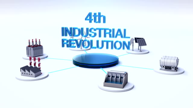 smart factory, solar panel, wind generator, hydroelectricity connect internet of things. '4th industrial revolution' - rivoluzione industriale video stock e b–roll