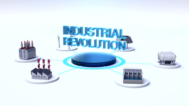 Smart Factory, solar panel, wind generator, Hydroelectricity connect Internet of things. 'INDUSTRIAL REVOLUTION' video