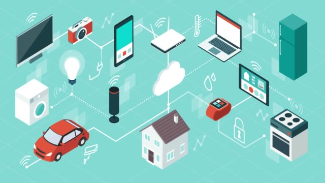 Smart home and internet of things Internet of things, domotics and smart home innovations, isometric network of connected devices and appliances home icon stock videos & royalty-free footage