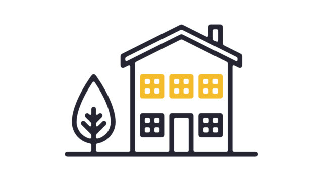 Smart Home System Line Icon Animation with Alpha