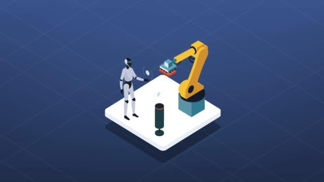 smart industri, robotar och automations ikon - datorstödd tillverkning bildbanksvideor och videomaterial från bakom kulisserna