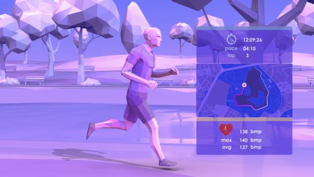 スマート ジョギング - ローポリモデリング点の映像素材/bロール