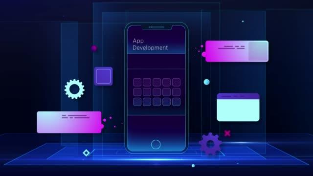 Smart Mobile development illustration Mobile App, Development, Mobile Phone contented emotion stock videos & royalty-free footage