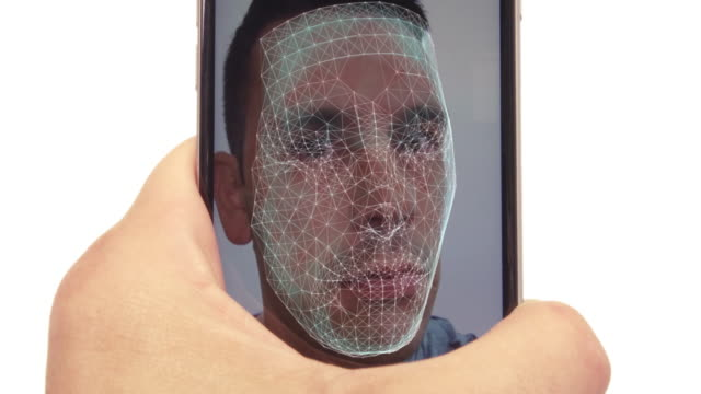 smart phone with face id unlock with facial recognition - facial stock videos & royalty-free footage