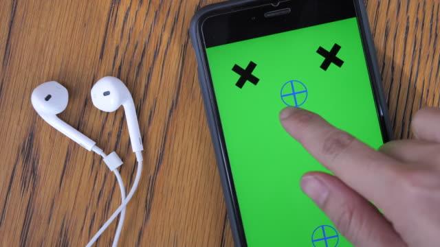 Smart phone with Headphones, Chroma key video