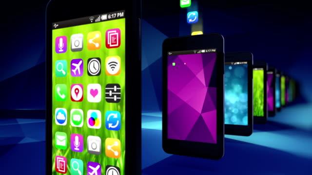 Teléfonos inteligentes aplicaciones de carga.  Loop. - vídeo