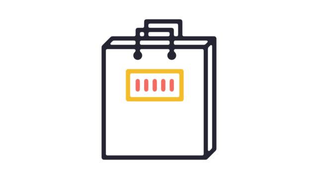smart shopping kampanjer linje ikonen animation med alpha - köpnarkoman bildbanksvideor och videomaterial från bakom kulisserna
