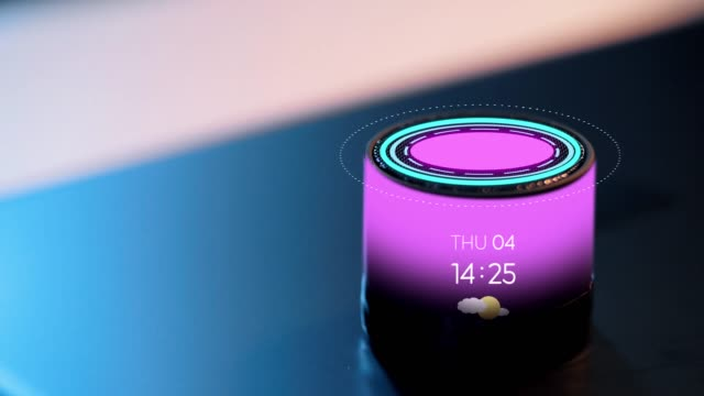 smart speaker with date, time and virtual hologram business, technology and internet of things concept - glowing violet smart speaker with date, time and virtual hologram on table bluetooth stock videos & royalty-free footage