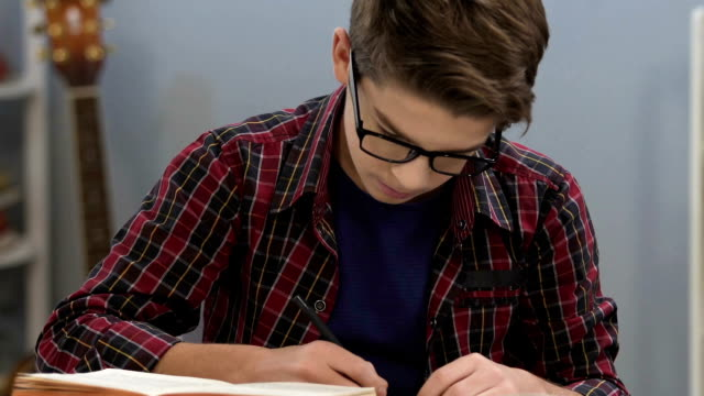 Smart teenager in glasses checking information in books, writing essay, indigo video
