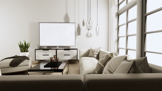 vídeos y material grabado en eventos de stock de smart tv en gabinete en estilo loft sala de estar con pared blanca sobre suelo de madera y sofá sillón.3d renderizado - póster