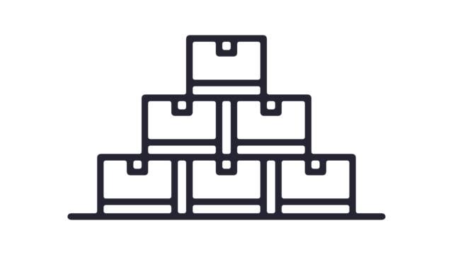 vídeos y material grabado en eventos de stock de almacén inteligente línea icono animación con alfa - imagen en bucle