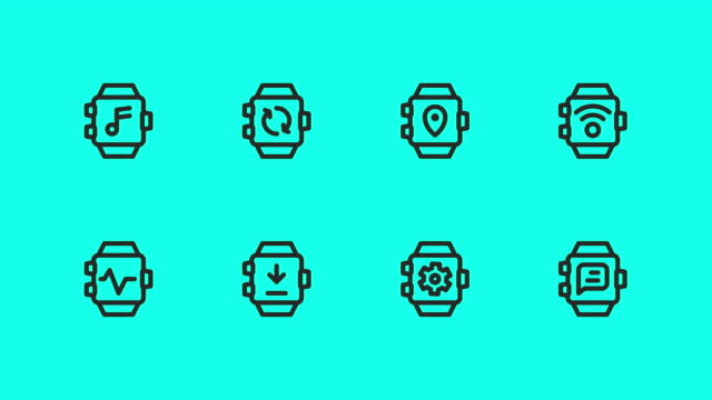 Smart Watch Line Icons - Vector Animate