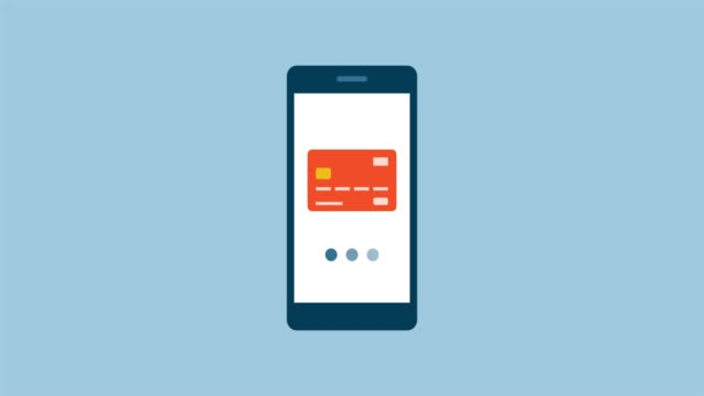Smartphone and e-payments Touch screen smartphone animation with virtual credit card processing a transaction contactless payment stock videos & royalty-free footage